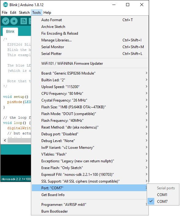 Arduino IDE COM port