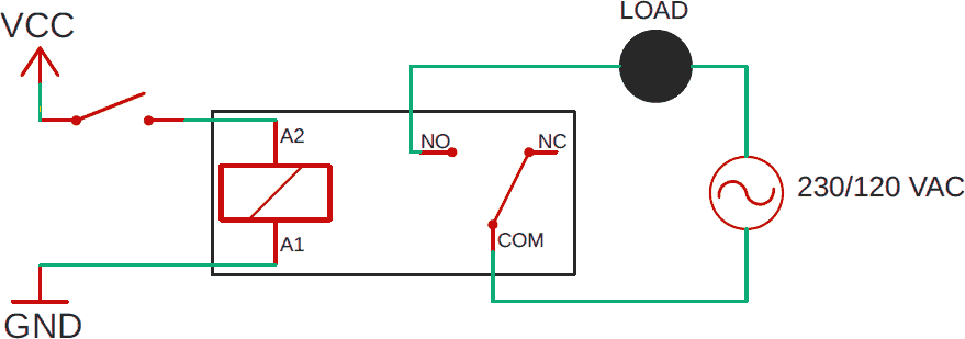 relay not powered schematic