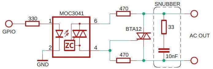 Triac schematic MOC2041